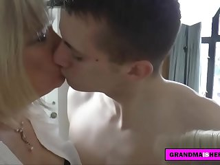 two grannies take care of the young guy