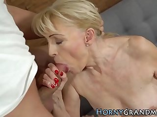 Grandmother gobbles cock