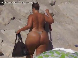 Mega Butt On The Beach Little Bikini