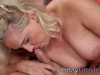 Blonde gilf mouth spunked