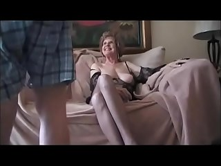 Breasted granny sucking her boytoy dick tothless and ge fucked on the couch