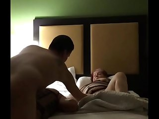 Having fun with my wife and my friend in a hotel