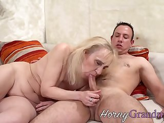 Dirty old granny sucks young stud