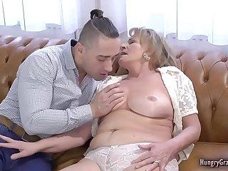 Lusty grandma worshiping hard dick