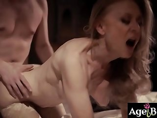 Young man Justin Hunt is cheating on his wife Casey Calvert with a 80 years old lady Nina Hartley!