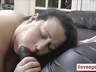 A nice big facial on horny milf Eve Jayne