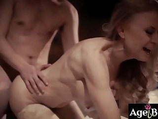 Old scrumpy hag Nina Hartley gets her old worn out pussy fucked by a young gilf lover named Justin Hunt