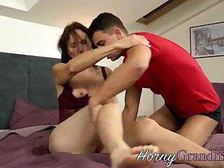 Horny granny sucking and fucking