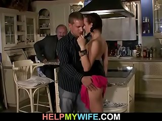 Old man watches his wife riding another cock