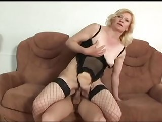 Cock sucking mature blonde Lena gets cunt filled with a cock and face splooged