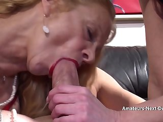 Amateur couple have a threesome with mature helper