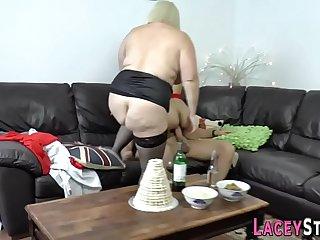Horny granny enjoys hardcore threesome sex