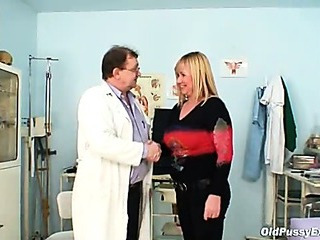 Big tits blond mature hairy pussy exam
