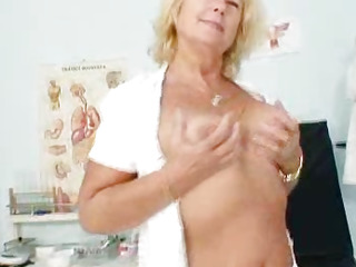 Blonde milf Greta big natural boobs and uniform