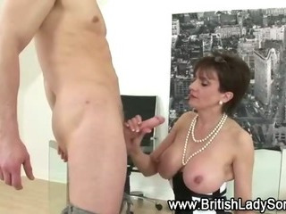 Mature stocking brit Sonia fuck and blowjob