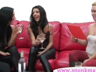 Handjob game with four english girls