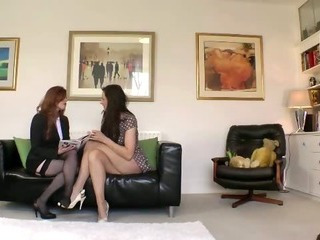 Sexy lesbians ladies start to get hot with each other