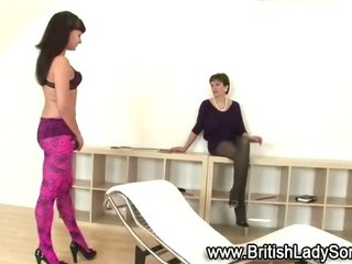 Mature british Lady Sonia punishes stocking slut