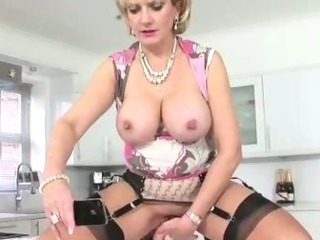 Mature stocking shoes brit dildo play