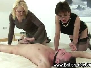 Mature femdom slut suck bound victim cock