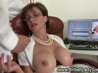 Mature woman gets cumshot suprise from younger guy