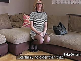 Older goldenhaired masturbates on casting