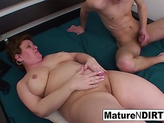 Chubby granny gets a cock in her ass