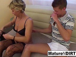 Confused blonde granny gets some sexual assistance